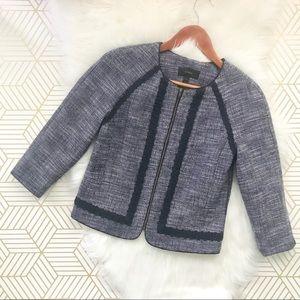 J. Crew | Navy Tweed Jacket Trimmed Blazer